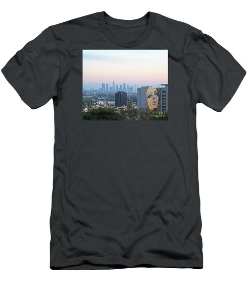 Hollywood View From Yamashiro's Men's T-Shirt (Slim Fit) by Cheryl Del Toro