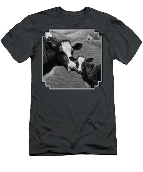 Holstein Cow Farm Black And White Men's T-Shirt (Slim Fit) by Crista Forest