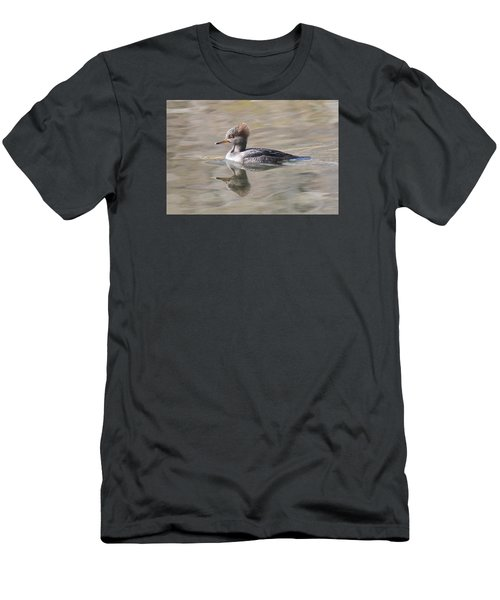 Hooded Merganser Female Men's T-Shirt (Slim Fit) by Alan Lenk
