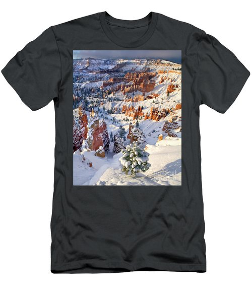 Men's T-Shirt (Slim Fit) featuring the photograph Hoodoos And Fir Tree In Winter Bryce Canyon Np Utah by Dave Welling