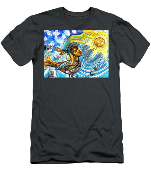 Men's T-Shirt (Slim Fit) featuring the painting Hooked By The Worm by Genevieve Esson