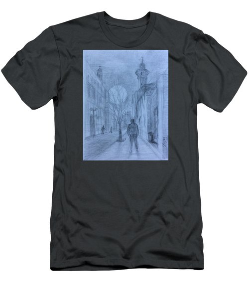 Men's T-Shirt (Slim Fit) featuring the painting  Moon Of Hope by Laila Awad Jamaleldin