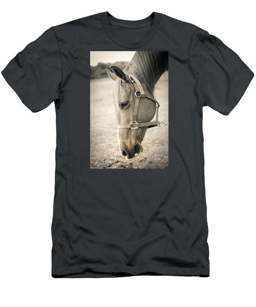 Men's T-Shirt (Slim Fit) featuring the photograph Horse Eating In A Pasture by Kelly Hazel