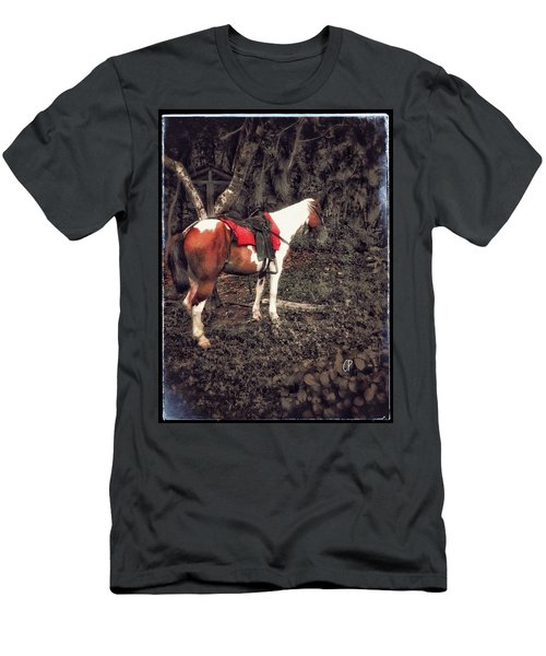 Horse In Red Men's T-Shirt (Athletic Fit)