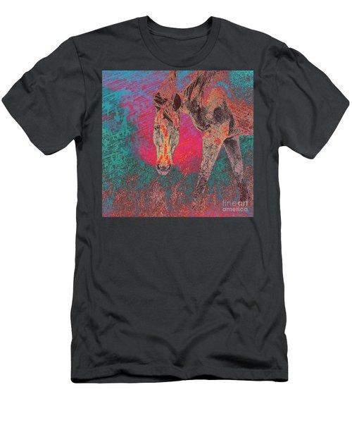 Horse Multi Color Men's T-Shirt (Athletic Fit)
