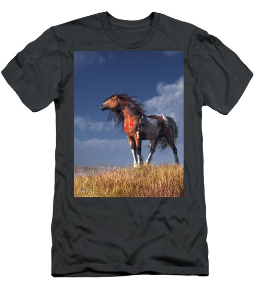 Horse With War Paint Men's T-Shirt (Athletic Fit)