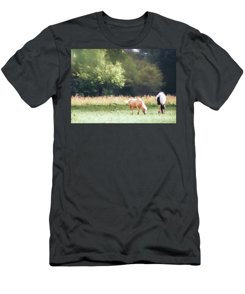 Men's T-Shirt (Athletic Fit) featuring the photograph Horses by Andrea Anderegg