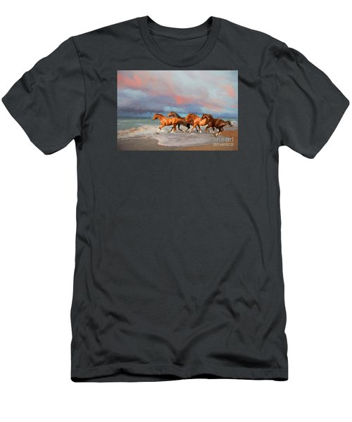 Horses At The Beach Men's T-Shirt (Slim Fit) by Mim White