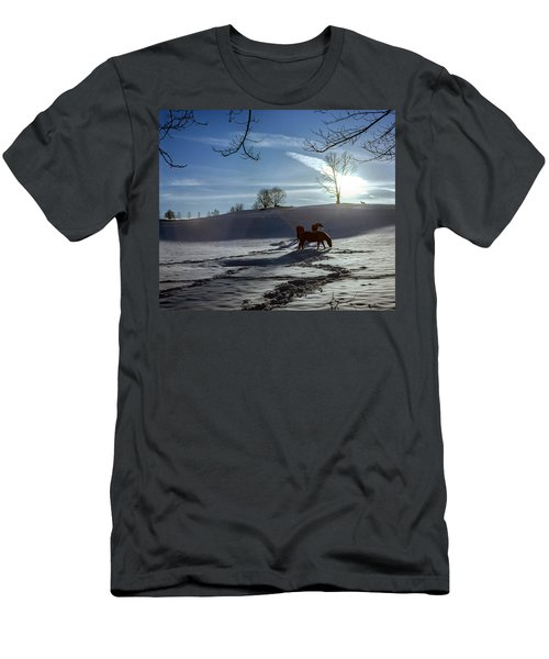 Horses In The Snow Men's T-Shirt (Slim Fit) by Greg Reed