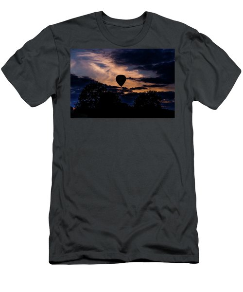 Hot Air Balloon Silhouette At Dusk Men's T-Shirt (Athletic Fit)
