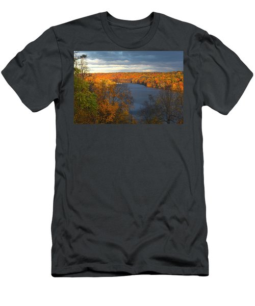 Men's T-Shirt (Slim Fit) featuring the photograph Housatonic In Autumn by Karol Livote