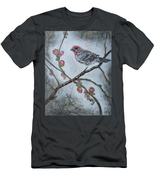 Men's T-Shirt (Slim Fit) featuring the mixed media House Finch by Sheri Howe