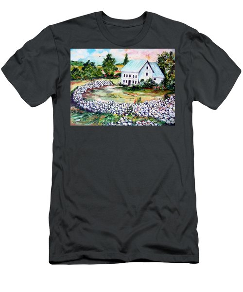 Men's T-Shirt (Slim Fit) featuring the painting House In Bosnia H Kalinovik by Roberto Gagliardi