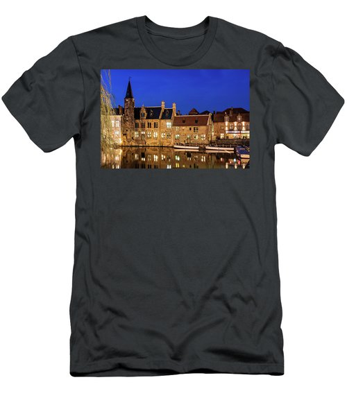 Houses By A Canal - Bruges, Belgium Men's T-Shirt (Athletic Fit)