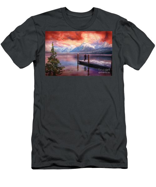 Hudson Bay Winter Fishing Men's T-Shirt (Slim Fit) by Judy Filarecki
