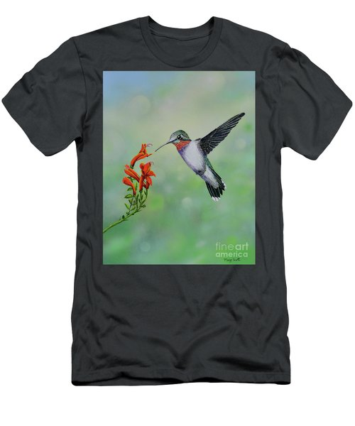 Men's T-Shirt (Athletic Fit) featuring the painting Hummingbird Beauty by Mary Scott