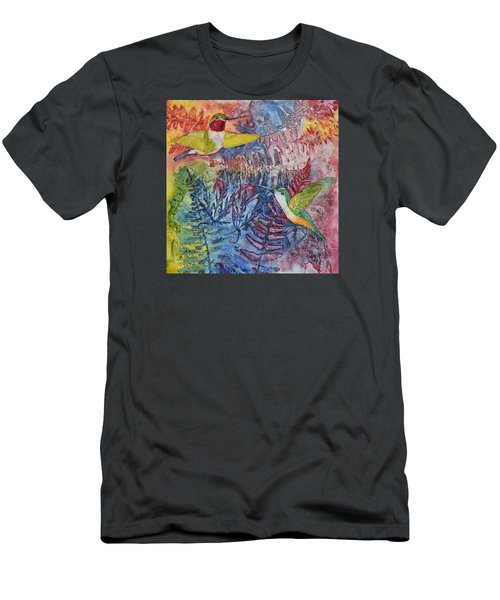Men's T-Shirt (Slim Fit) featuring the painting Hummingbird Duo by Nancy Jolley