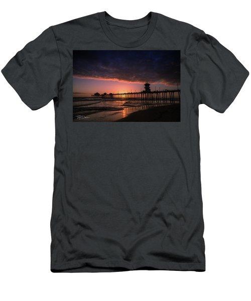 Huntington Pier At Sunset Men's T-Shirt (Athletic Fit)