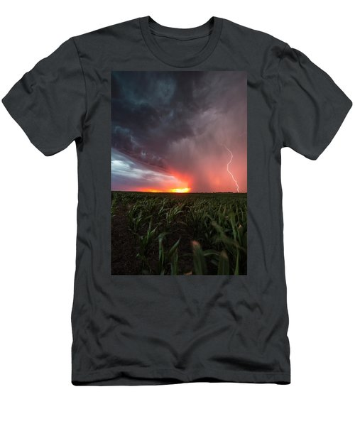 Men's T-Shirt (Athletic Fit) featuring the photograph Huron Lightning  by Aaron J Groen