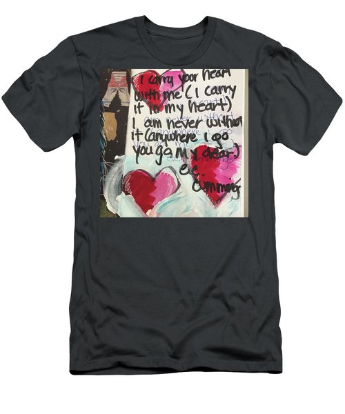 Men's T-Shirt (Slim Fit) featuring the painting I Carry Your Heart In My Heart II by Kim Nelson