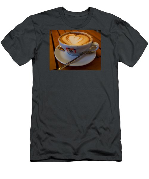 Men's T-Shirt (Slim Fit) featuring the photograph I Love Coffee by Laura Ragland