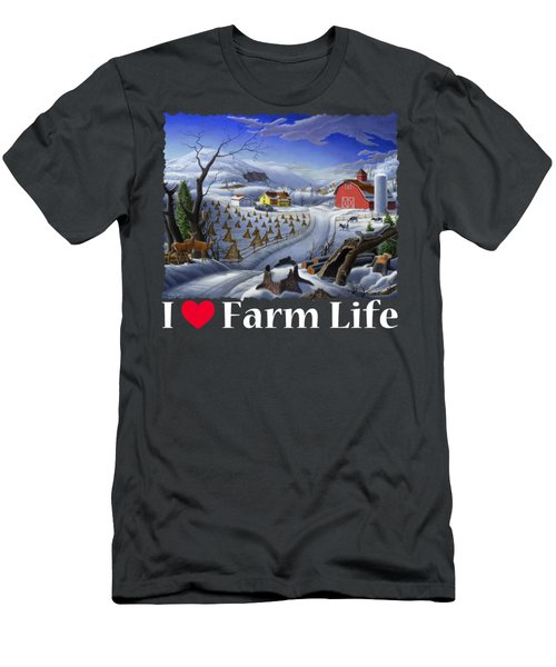 I Love Farm Life Shirt - Rural Winter Country Farm Landscape 2 Men's T-Shirt (Athletic Fit)