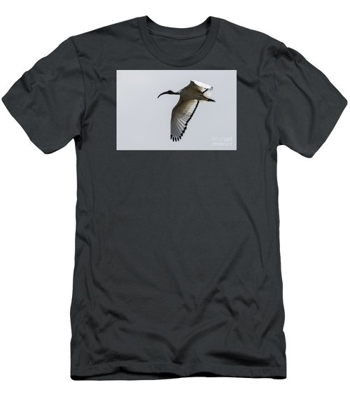 Men's T-Shirt (Slim Fit) featuring the photograph Ibis In Flight by Pravine Chester