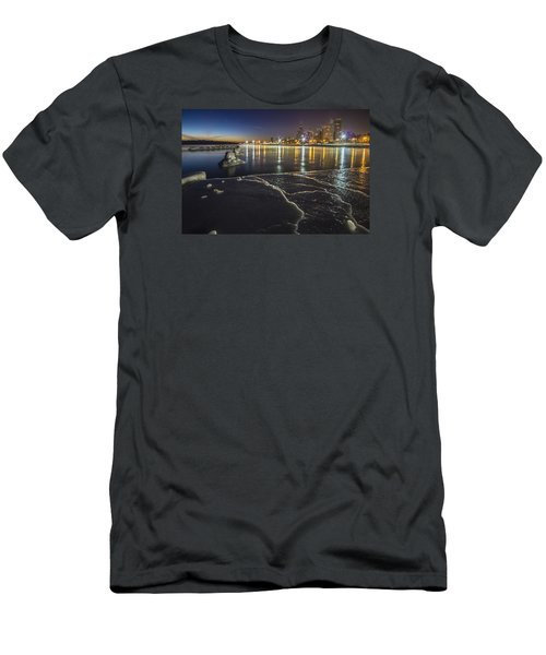 Ice And Chicago Skyline At Dawn  Men's T-Shirt (Athletic Fit)