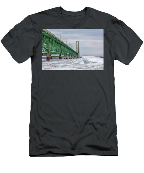 Men's T-Shirt (Slim Fit) featuring the photograph Ice And Mackinac Bridge  by John McGraw