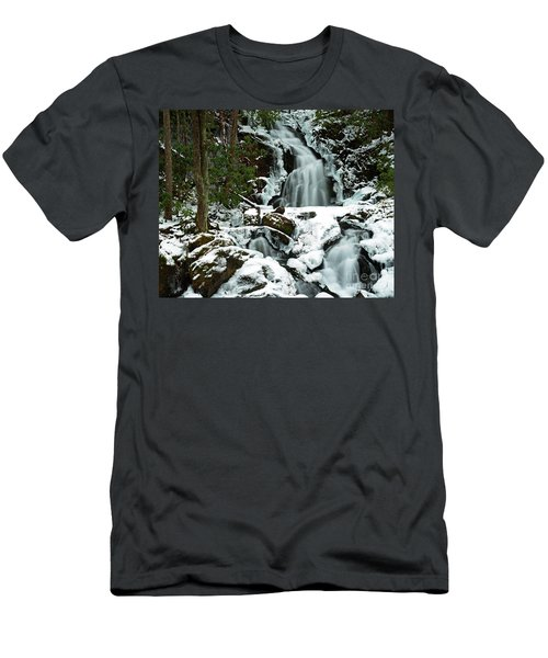Ice And Snow, Mouse Creek Falls, Great Smoky Mountain National Park Men's T-Shirt (Athletic Fit)