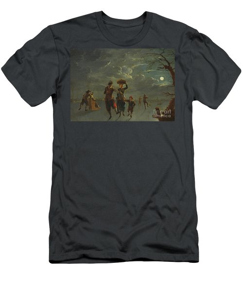 Ice Skating By Moonlight  Men's T-Shirt (Athletic Fit)