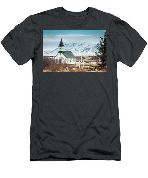 Icelandic Church, Thingvellir Men's T-Shirt (Athletic Fit)