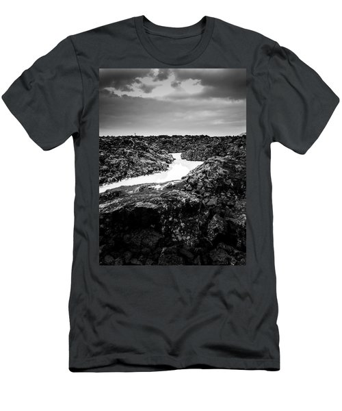 Icelandic Silica Stream In Black And White Men's T-Shirt (Athletic Fit)