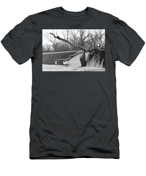 Icicle Laden Branch Over The Waterfall Men's T-Shirt (Athletic Fit)