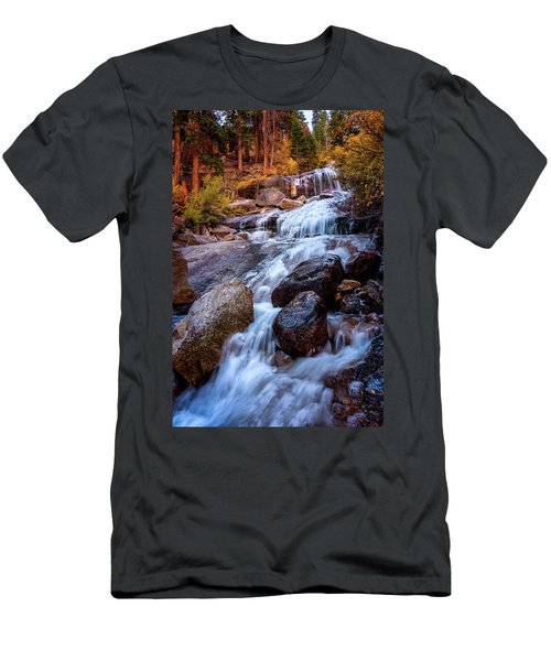 Men's T-Shirt (Athletic Fit) featuring the photograph Icy Cascade Waterfalls by John Hight