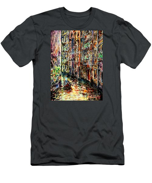 Men's T-Shirt (Slim Fit) featuring the painting Il Giro Finale Del Gondoliere by Alfred Motzer