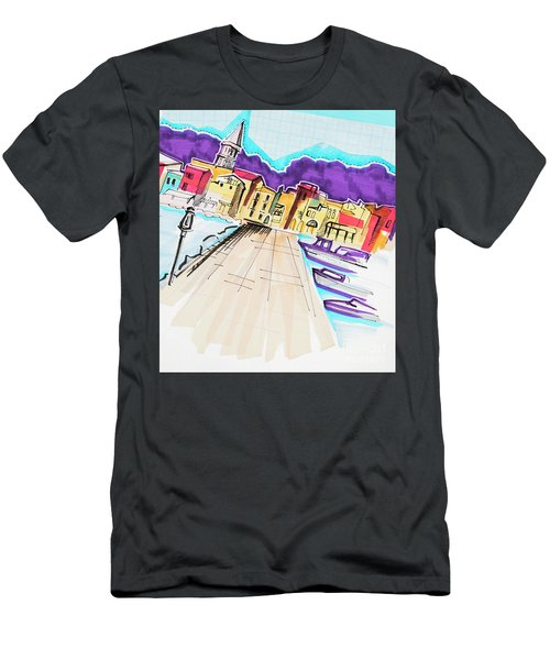 Men's T-Shirt (Athletic Fit) featuring the drawing illustration of travel, Italy by Ariadna De Raadt