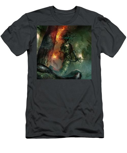 In The Lair Of The Gorgon Men's T-Shirt (Slim Fit) by Ryan Barger