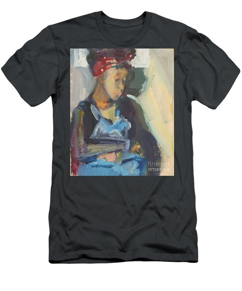Men's T-Shirt (Slim Fit) featuring the painting In The Still Of Quiet by Daun Soden-Greene