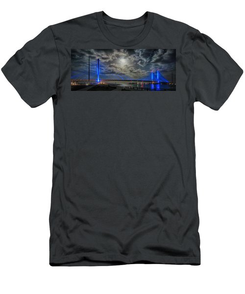 Indian River Bridge Moonlight Panorama Men's T-Shirt (Athletic Fit)