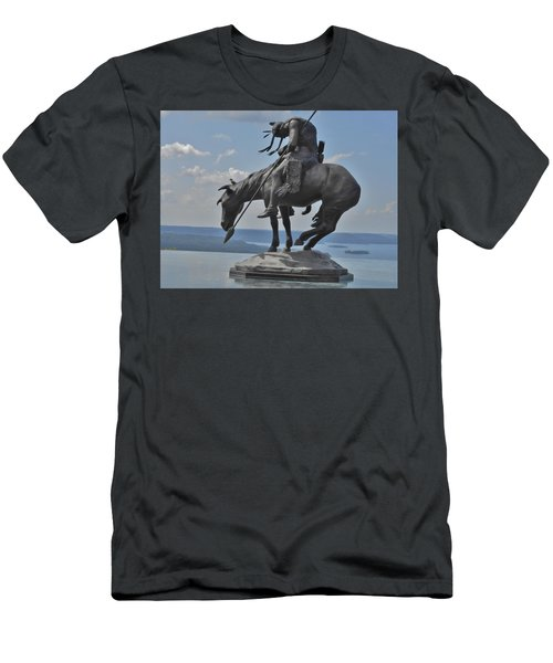 Indian Statue Infinity Pool Men's T-Shirt (Slim Fit) by Julie Grace