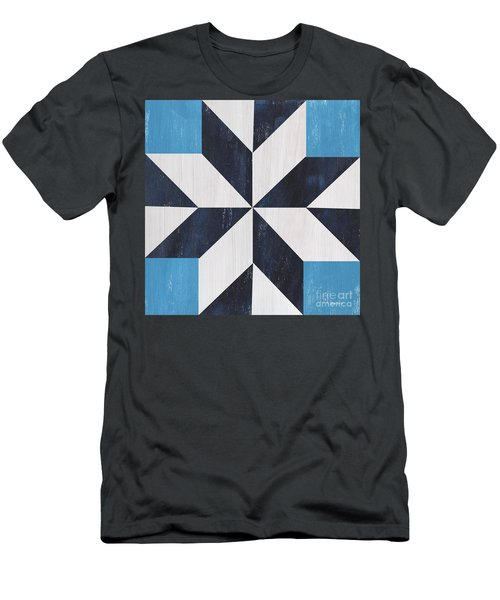 Men's T-Shirt (Slim Fit) featuring the painting Indigo And Blue Quilt by Debbie DeWitt