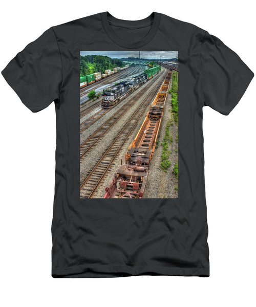 Men's T-Shirt (Athletic Fit) featuring the photograph Inman Intermodal Yard Atlanta Norfolk Southern Railway Locomotive 2665 Art by Reid Callaway