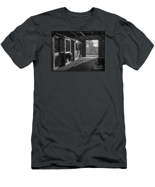 Men's T-Shirt (Athletic Fit) featuring the photograph Inside The Horse Barn Black And White by Edward Fielding
