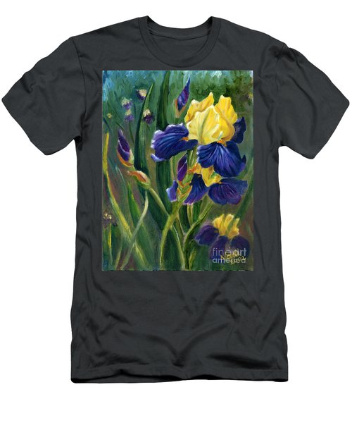 Men's T-Shirt (Slim Fit) featuring the painting Iris by Renate Nadi Wesley