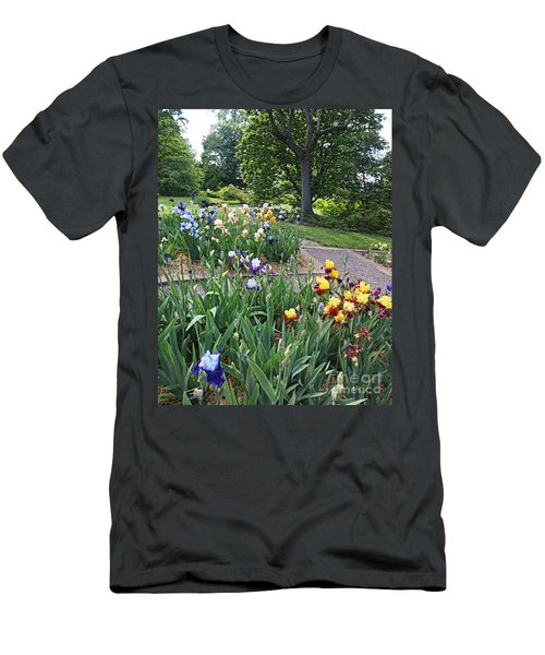 Men's T-Shirt (Slim Fit) featuring the photograph Iris With Trees by Nancy Kane Chapman