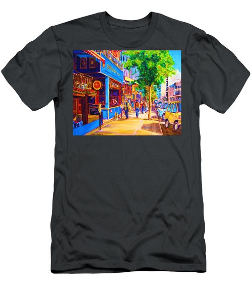 Men's T-Shirt (Slim Fit) featuring the painting Irish Pub On Crescent Street by Carole Spandau