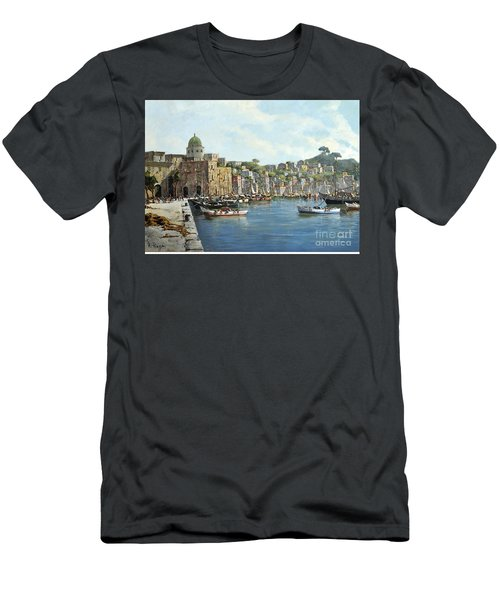 Island Of Procida - Italy- Harbor With Boats Men's T-Shirt (Athletic Fit)