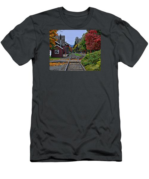 Issaquah Train Station Men's T-Shirt (Slim Fit) by Kirt Tisdale