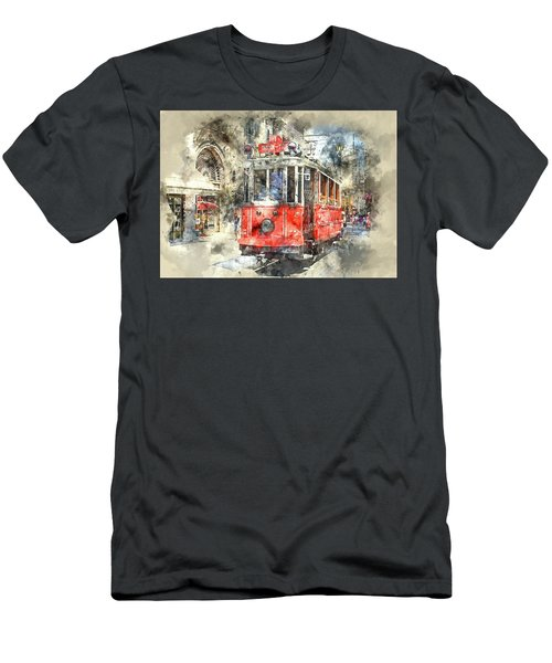 Istanbul Turkey Red Trolley Digital Watercolor On Photograph Men's T-Shirt (Athletic Fit)